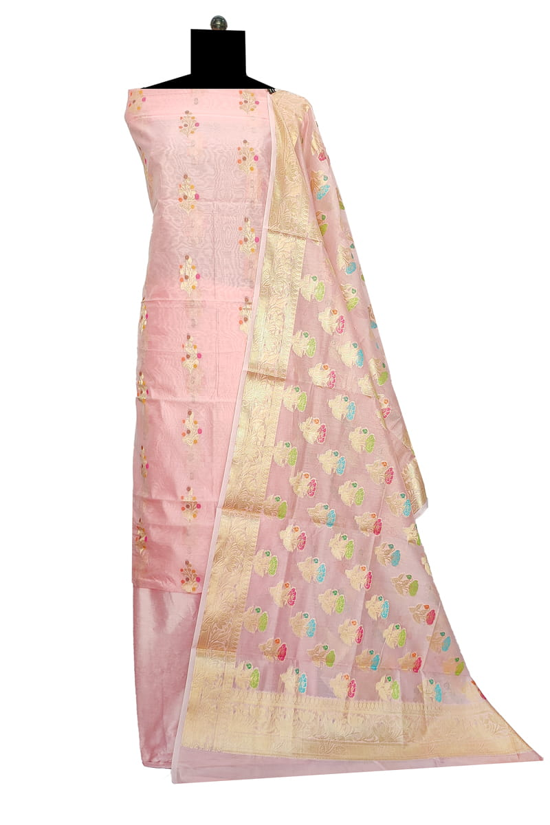 Pink Banarasi Silk Suit With Banarasi Embroidered Dupatta SKUPKBNRS1220