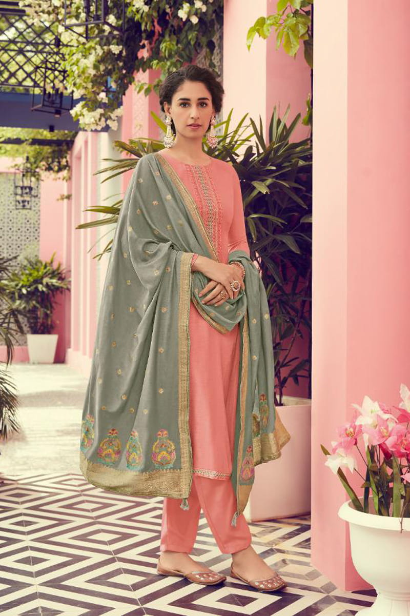 Pink Gey Viscose Suit With Meenakari work Dupatta