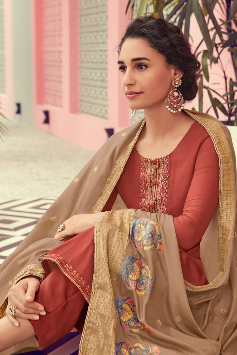 Rust Golden Viscose Suit With Meenakari work Dupatta