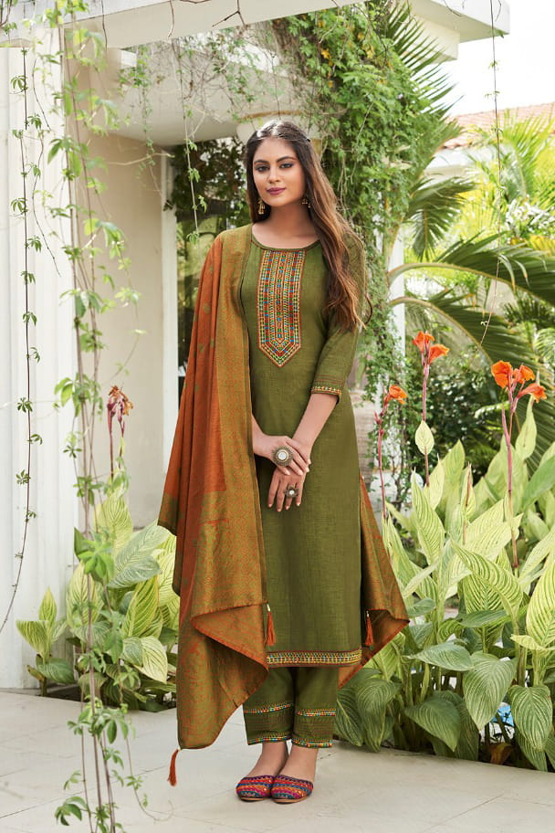 Olive Green Silk Embroidered Stitched Suit With Multicolor Silk Dupatta