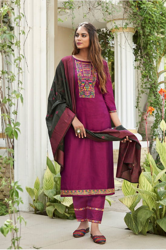 Purple Color Silk Embroidered Stitched Suit With Multicolor Silk Dupatta