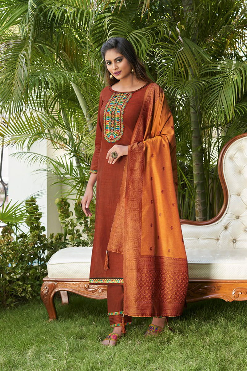 Rust Color Silk Embroidered Stitched Suit With Multicolor Silk Dupatta
