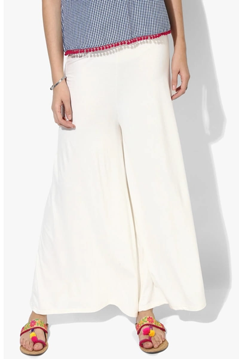 Solid Off White Rayon Flair Palazzo