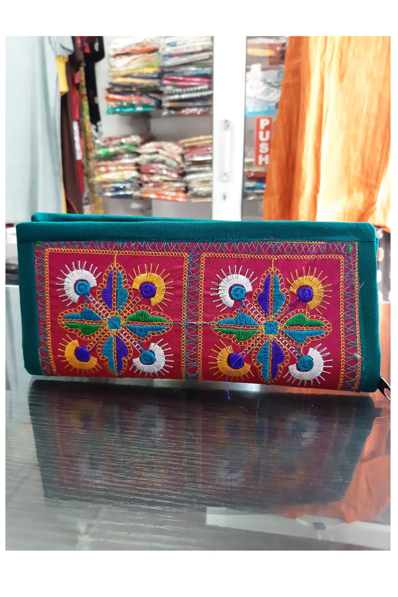 Green Embroidered Hand clutch