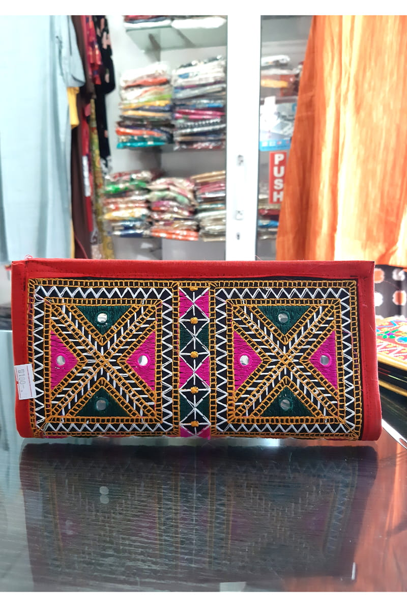 Red Embroidered Hand clutch