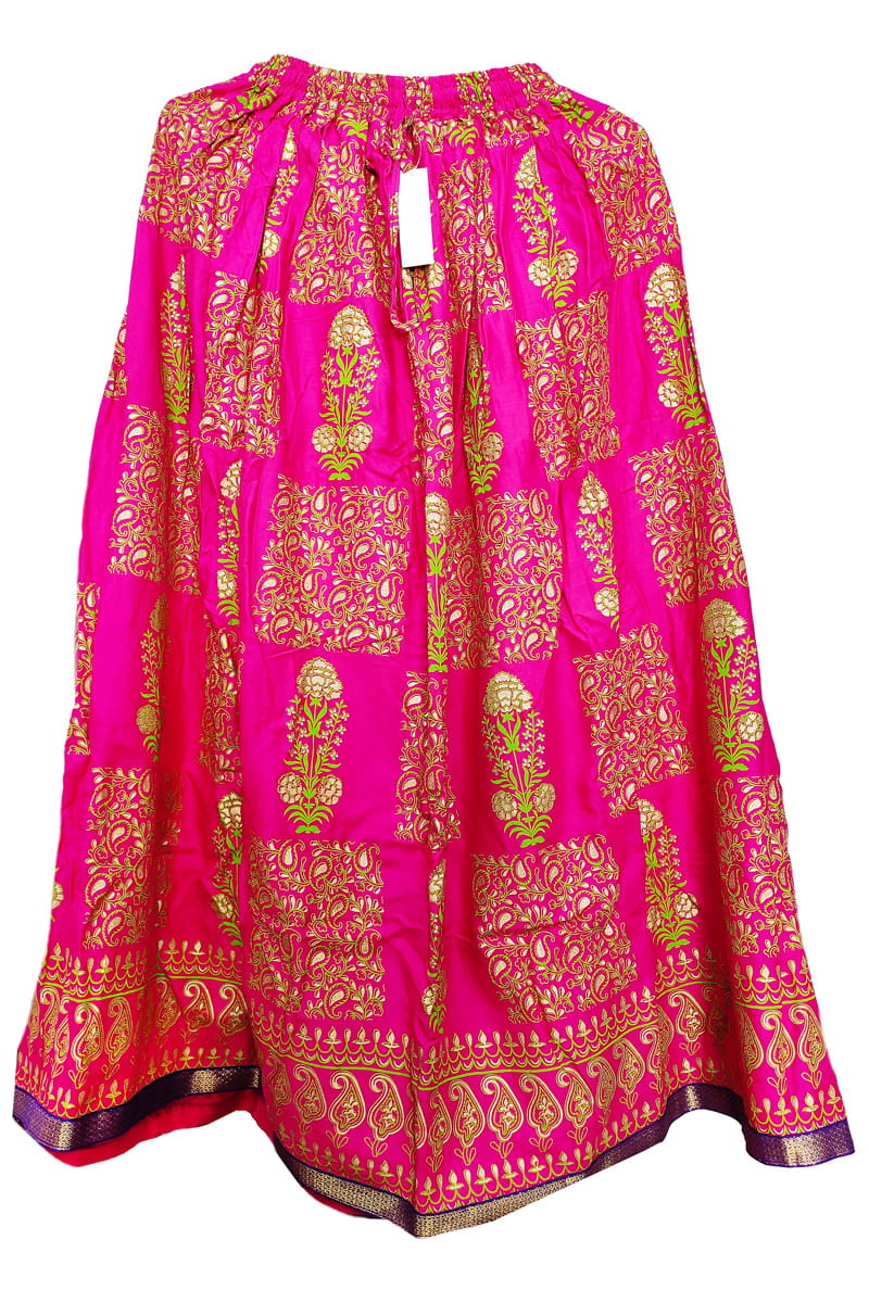 Magenta Meenakari Work Cotton Skirt