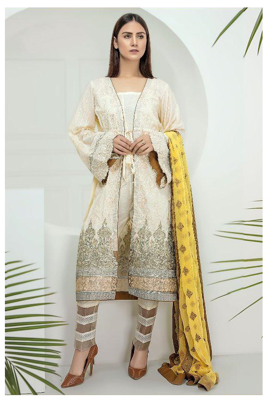 Pakistani White Yellow Krachi Embroidered Suit With Printed Dupatta