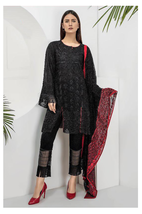Pakistani Black Krachi Embroidered Suit With Printed Dupatta
