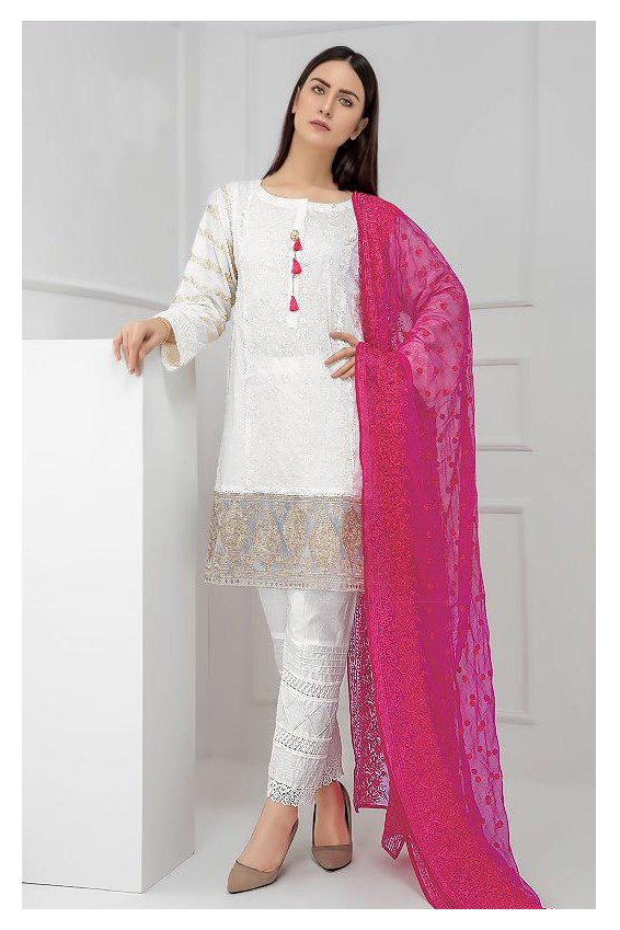 Pakistani White Magenta Embroidered Suit With Dupatta