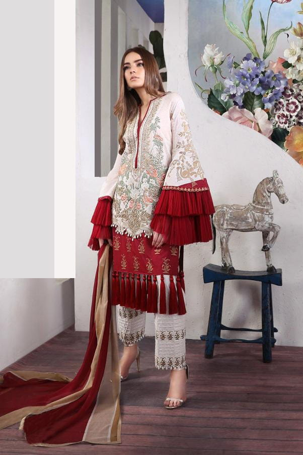 Pakistani Lawn Cotton Maroon Beige Krachi Embroidered Suit With Baraso Printed Tussle Dupatta
