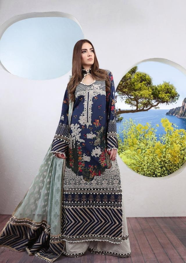Pakistani Lawn Cotton Blue Krachi Embroidered Suit With Baraso Printed Tussle Dupatta