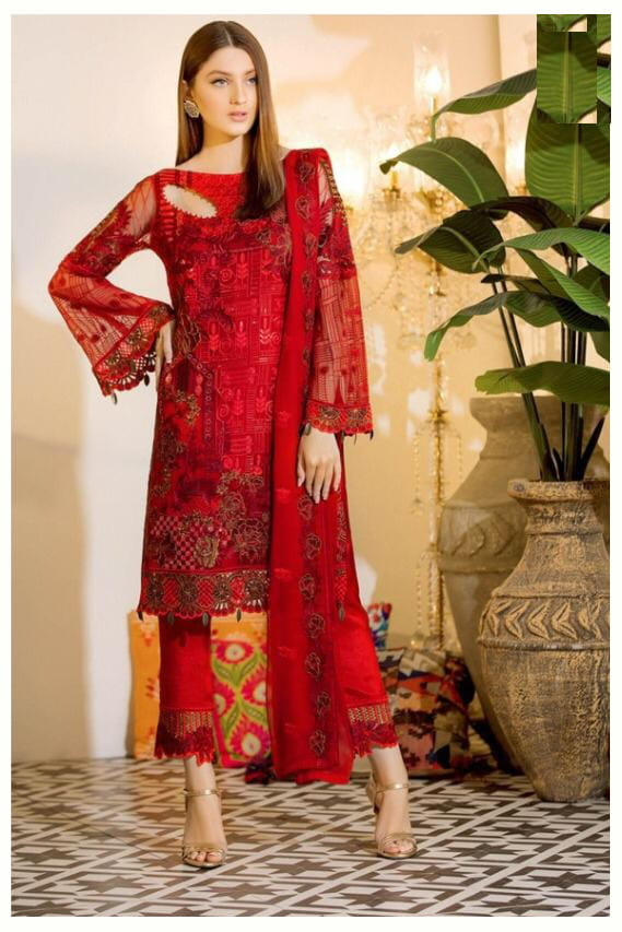 Pakistani Red Karachi Embroidered Georgette Suit With Embroidered Net Dupatta