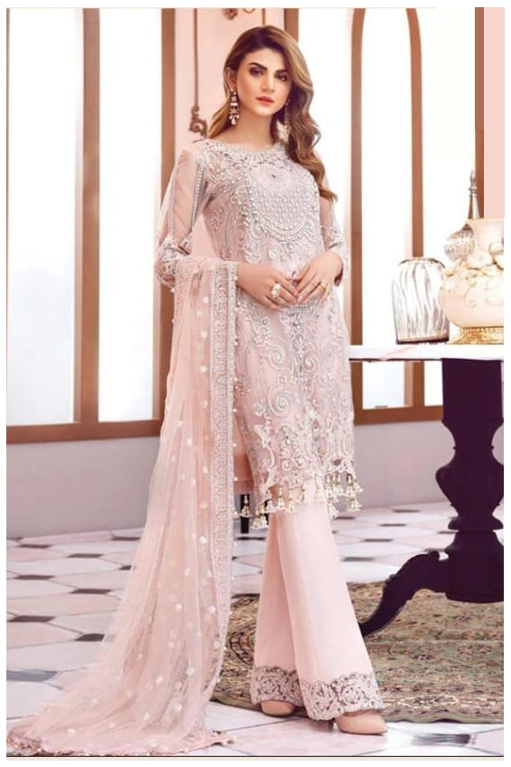 Pakistani Pink Karachi Embroidered Georgette Suit With Embroidered Net Dupatta