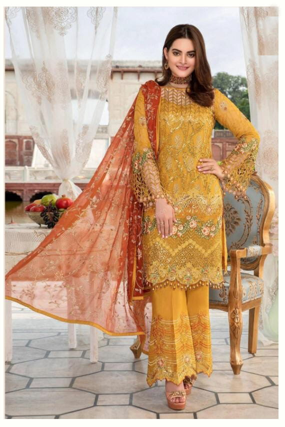 Pakistani Mustard Karachi Embroidered Georgette Suit With Embroidered Net Dupatta