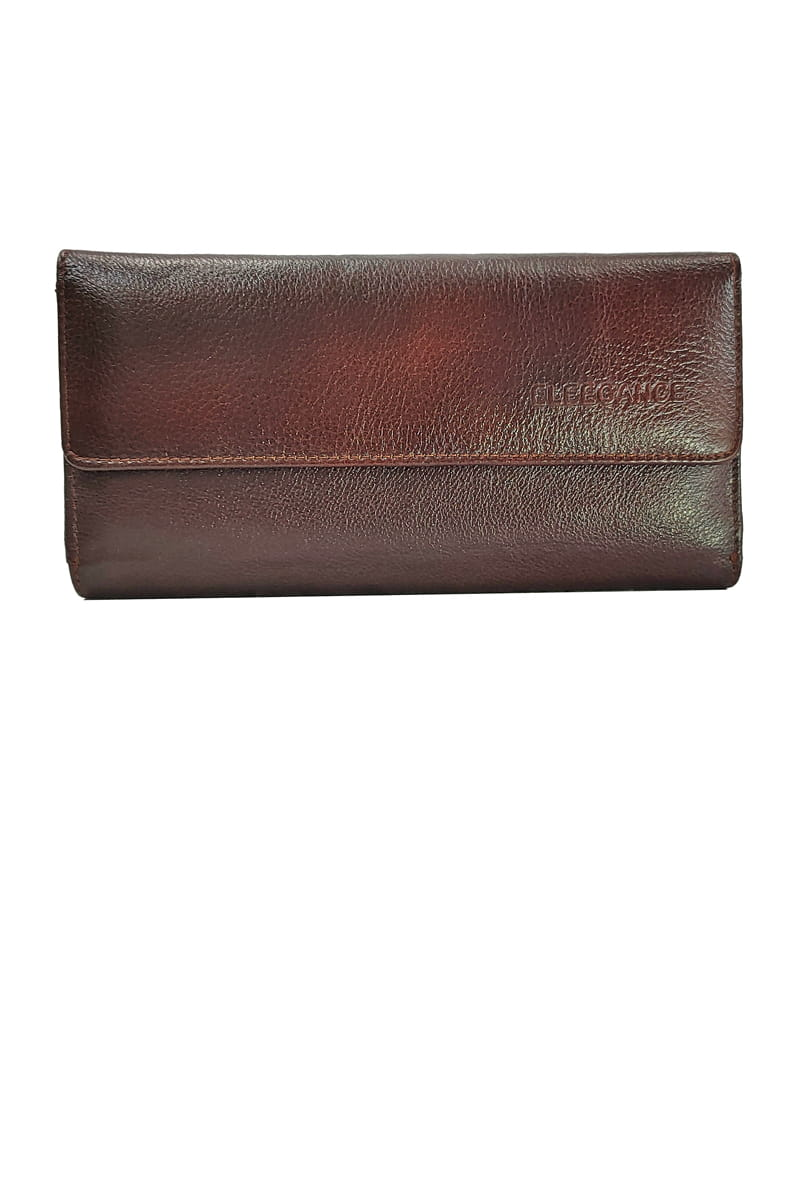 Eleegance Pure Leather Brown Handclutch