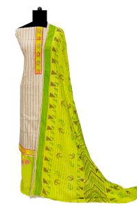 Cotton Beige Green Stripped Embroidered Suit With Cotton Dupatta