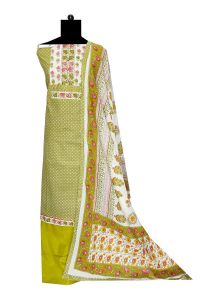 White Green Embroidered Cotton Suit With Cotton Dupatta
