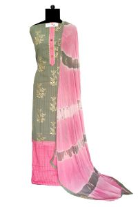 Grey Pink Cotton Suit With Cotton Dupatta