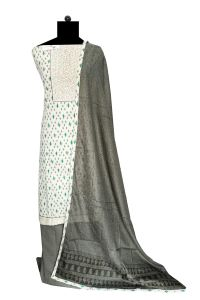Off White Embroidered Cotton Suit With Cotton Dupatta