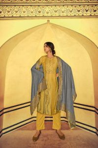 Pashmina Yellow Stripped Embroidered Suit With Yellow Modal Silk Dupatta