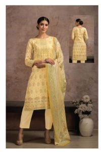 Pure Cotton Yellow Karachi Suit With Chiffon Dupatta