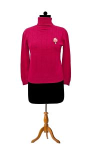 Pure Wool Maroon High Neck Pullover