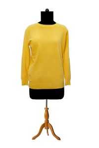 Pure Wool Yellow Self Designer Pullover
