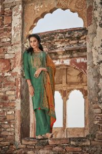 Pashmina Aqua Green Embroidered Suit With Velevt Stole