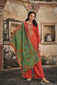 Pashmina Peach Embroidered Suit With Velevt Stole