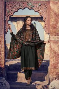 Pashmina Black Kashmiri Embroidered Suit With Pashmina Stole