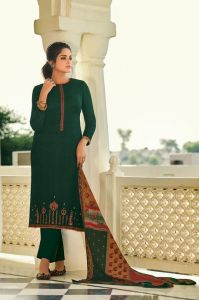Pashmina Leaf Green Karachi Embroidered Suit With Pashmina Stole