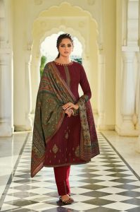 Pashmina Maroon Karachi Embroidered Suit With Pashmina Stole
