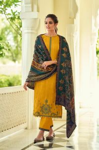 Pashmina Mustard Karachi Embroidered Suit With Pashmina Stole