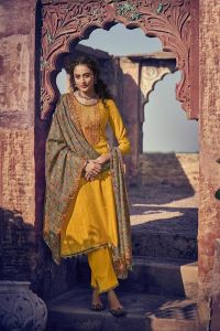 Pashmina Mustard Kashmiri Embroidered Suit With Pashmina Stole