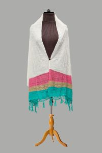 Pure Wool White Multi Color Designer Stole