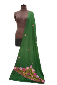 Pashmina Kashmiri Traditional Embroidered Green Stole