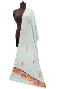 Pashmina Kashmiri Traditional Embroidered Grey Stole