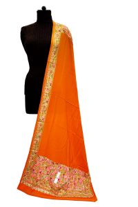 Pashmina Kashmiri Traditional Embroidered Orange Stole