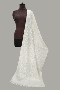Pashmina Kashmiri Traditional Full Embroidered Off White Stole