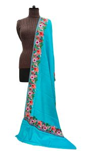 Pashmina Kashmiri Traditional Embroidered Aqua Blue Stole
