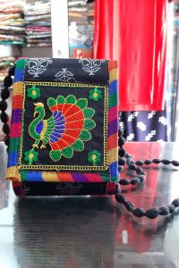 Black Embroidered Handmade Sling Bag
