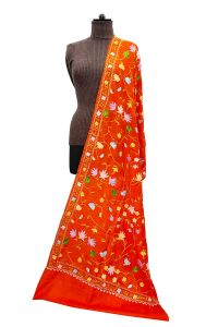 Pashmina Kashmiri Traditional Overall Embroidered Orange Stole