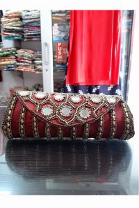Red Mirror Embroidered Handmade Clutch