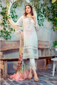 Karachi Lawn Cotton White Pink Embroidered Suit