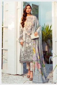 Karachi Lawn Cotton White Grey Embroidered Suit