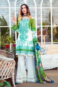 Karachi Lawn Cotton White Green Embroidered Suit