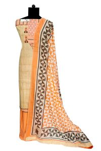Beige Peach Cotton Suit With Cotton Dupatta