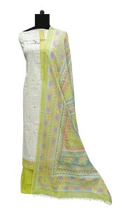 Light Green Cotton Suit With Cotton Printed Dupatta