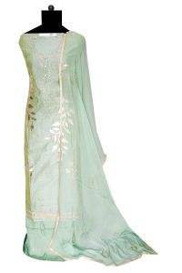 Maheshwari Silk Pista Green Siroski Work Suit With Siroski Work Chiffon Dupatta