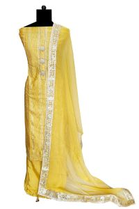 Maheshwari Yellow Handwork Suitrt With Gotta Handwork Chiffon Dupatta